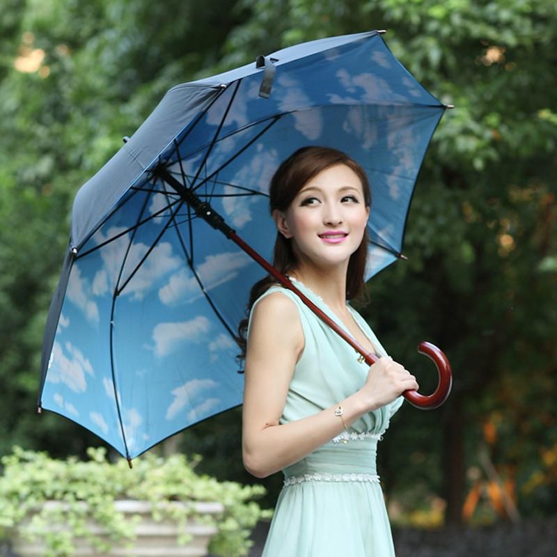 MAGIC RAIN 黑色红色蓝色半自动高密度拒水碰击布晴雨伞长柄伞成人 遮阳伞