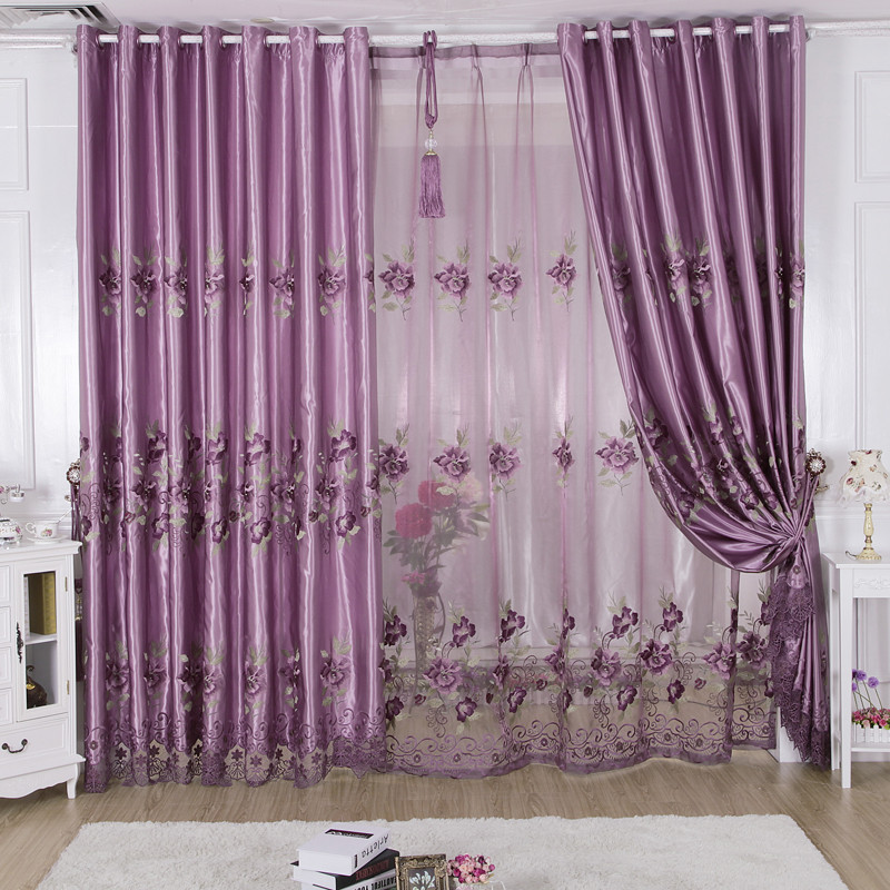 美帘美居 布帘 纱帘装饰 半遮光涤纶植物花卉欧式 窗帘