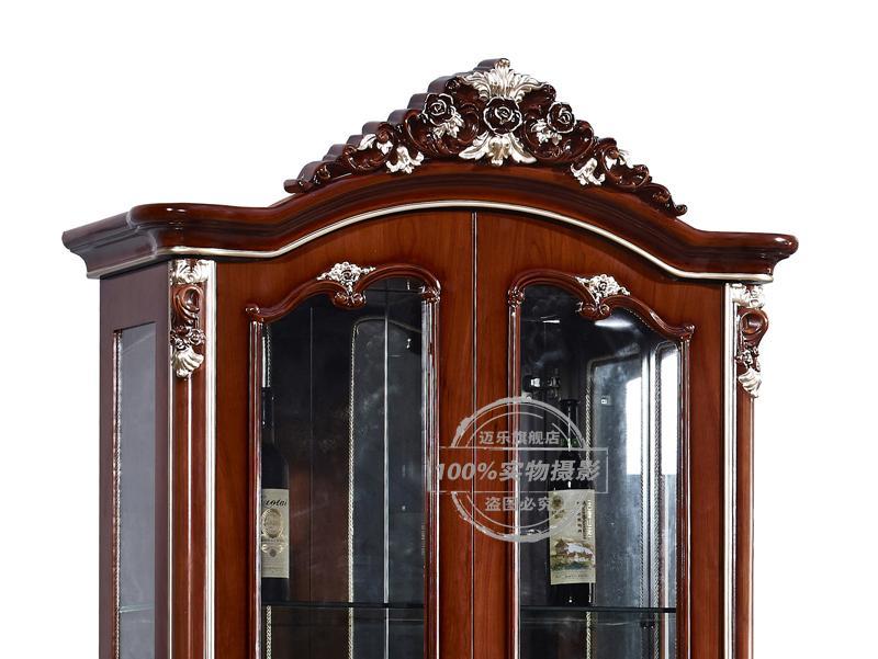 迈乐 酒柜带灯 深色描金框架结构松木拆装抽象图案欧式 酒柜