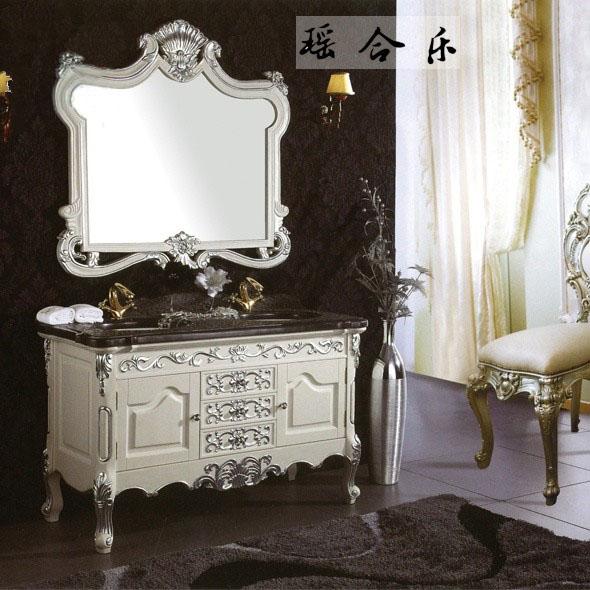 瑶合乐 橡胶木大理石台面欧式 y18浴室柜