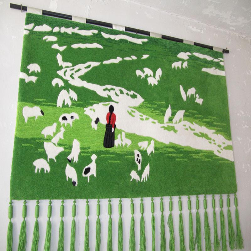 琪斯美 化纤手工挂毯长方形风景田园 挂毯