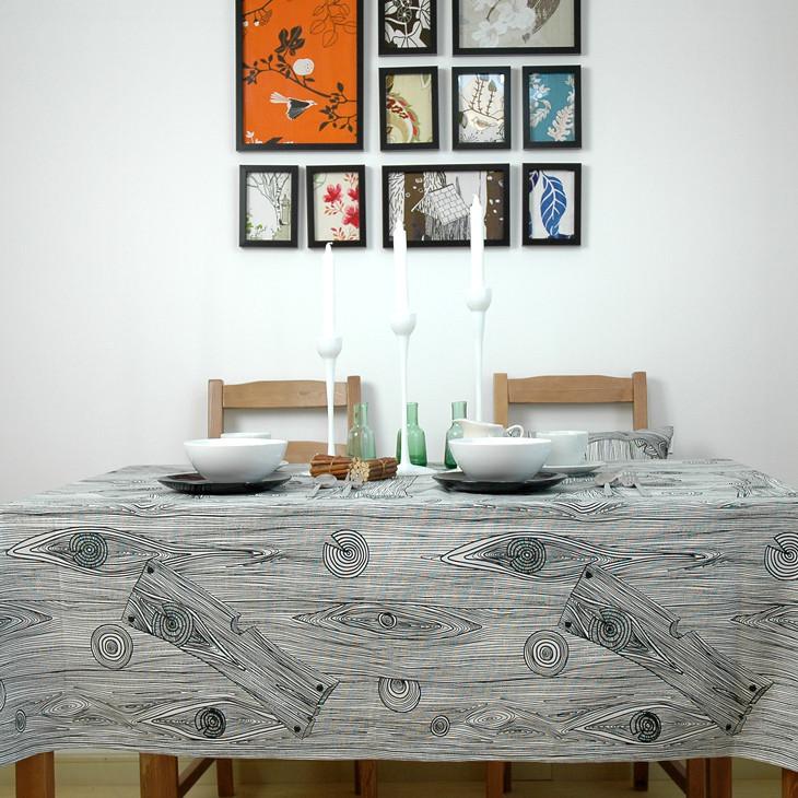 艾沫 黑白木纹布条纹北欧/宜家 桌布