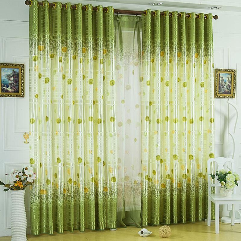 美帘美居 布装饰 半遮光平帷涤纶植物花卉普通打褶田园 窗帘