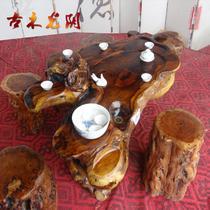 油漆工艺喷漆雕刻 根雕茶几套装功夫茶桌
