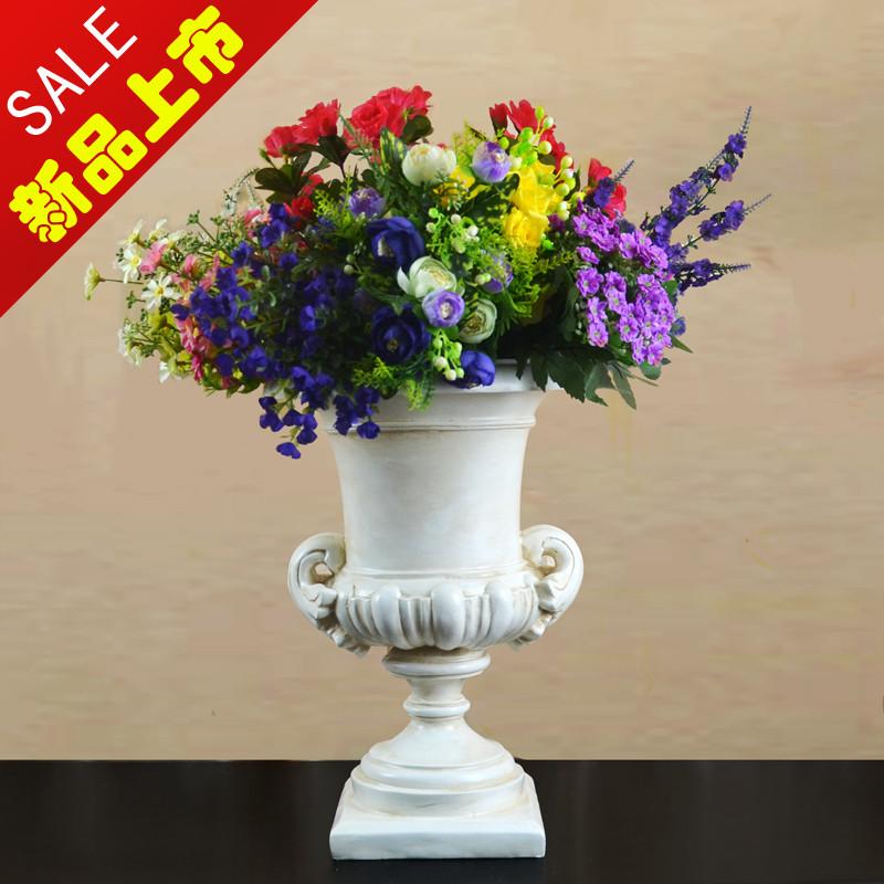 一舟之家 象牙白树脂台面花瓶大号欧式 花瓶