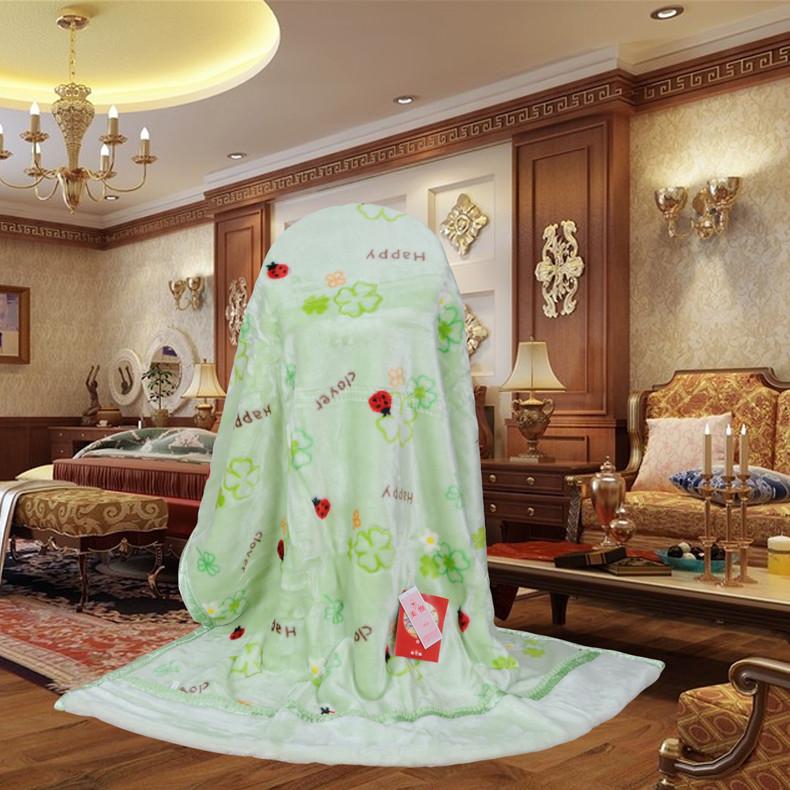 美雅 粉红色浅绿色5%拉舍尔毛毯一等品冬季植物花卉欧式 毛毯