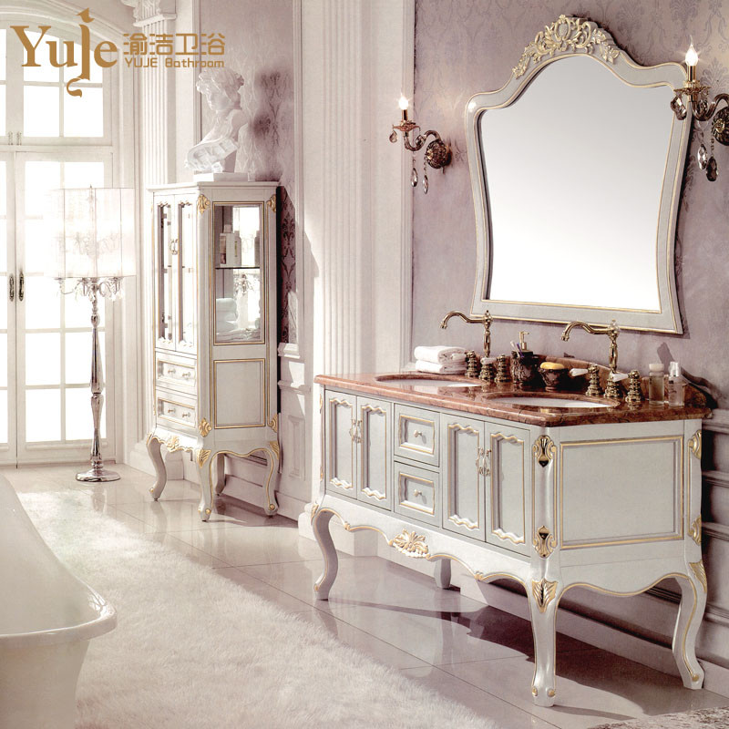 渝洁 含立柜不含立柜立柜橡胶木含带配套面盆大理石台面e0级欧式 洗手