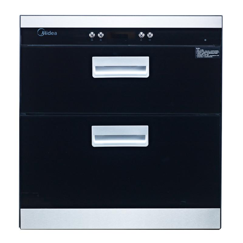美的 黑色玻璃一星级臭氧紫外线双门钢化玻璃 消毒柜