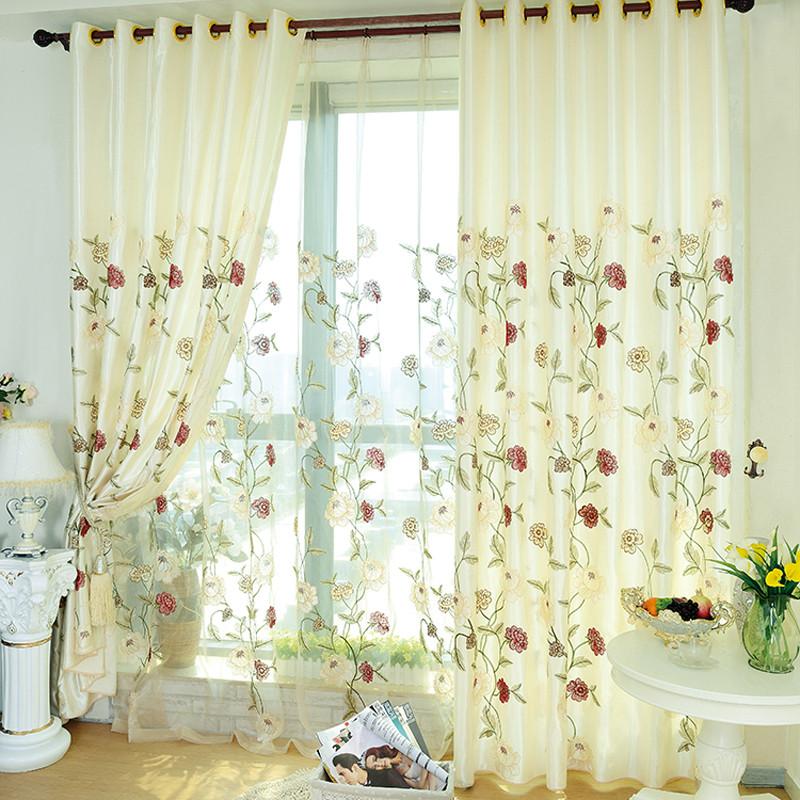 美帘美居 米白色布帘 纱帘装饰 半遮光涤纶植物花卉简约现代 窗帘