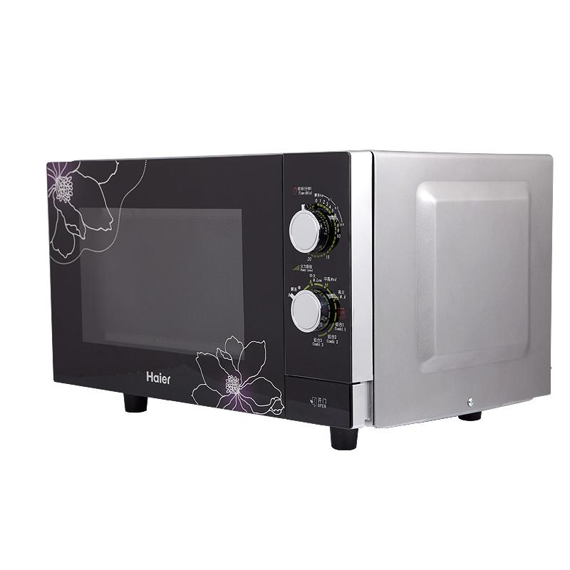 海尔 银色微波炉按门式平板式全国联保微波蒸汽机械式 微波炉