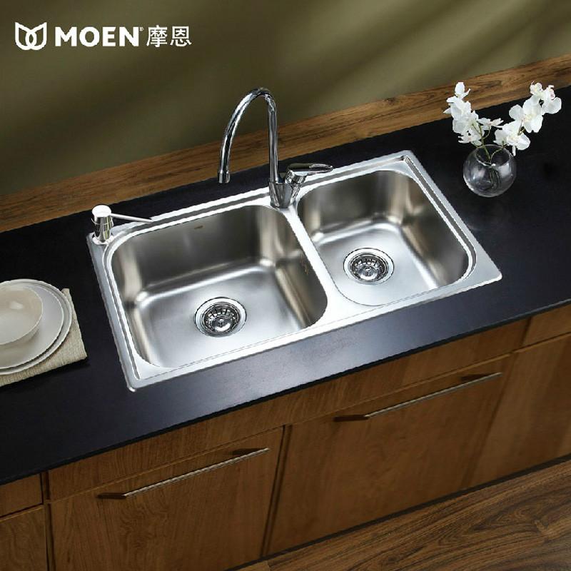 摩恩 不锈钢附带皂液器附带龙头 水槽