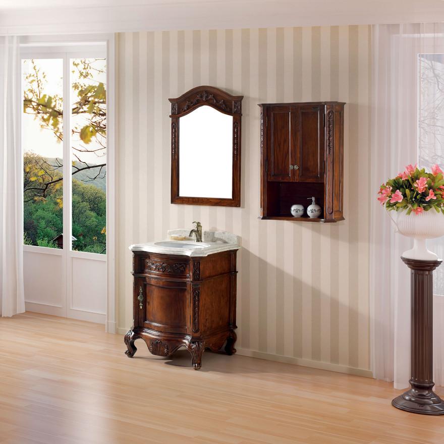 维品诺 橡胶木含带配套面盆大理石台面e0级欧式 8857洗手盆