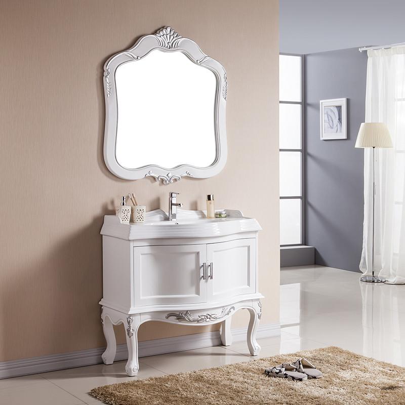 妙洁 橡木含带配套面盆大理石台面e0级欧式 浴室柜