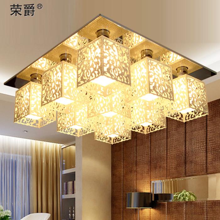荣爵 有机玻璃铁简约现代镂空雕花正方形白炽灯节能灯