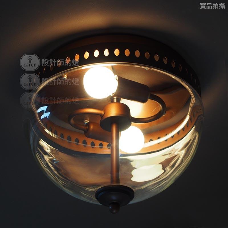 设计师的灯 玻璃铁美式乡村喷漆磨砂圆形白炽灯节能灯LED 吸顶灯