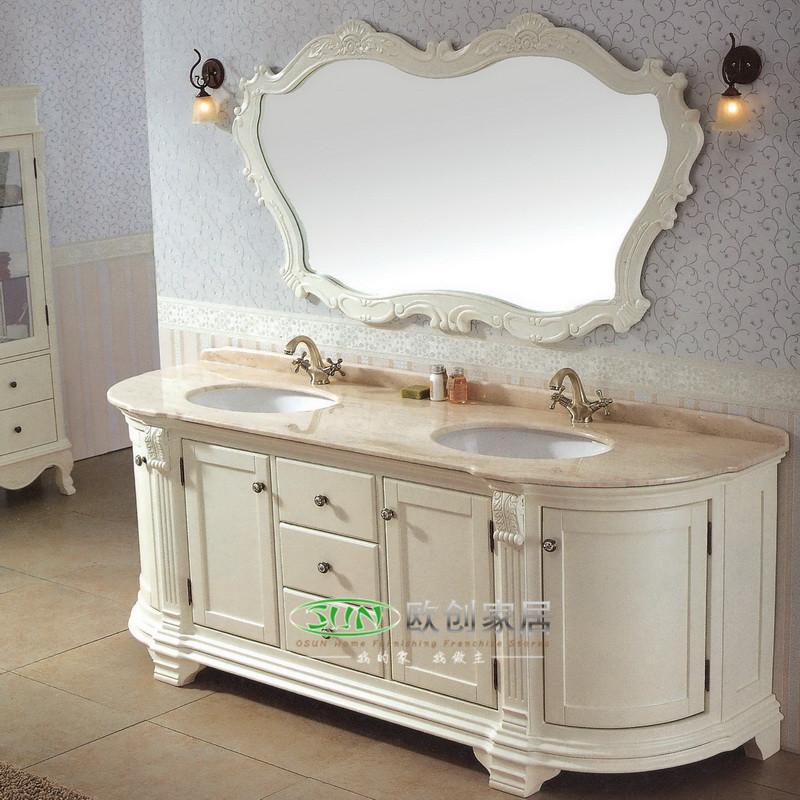 福森 橡胶木大理石台面e0级欧式 y49浴室柜