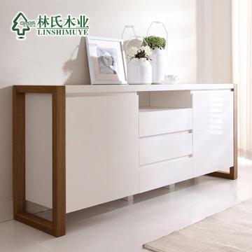 林氏木业 白亮光人造板密度板/纤维板框架结构储藏简约现代 餐边柜