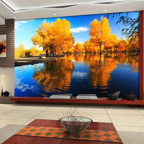 千贝维纳 风景木纤维墙纸压花有图案客厅韩式 墙纸