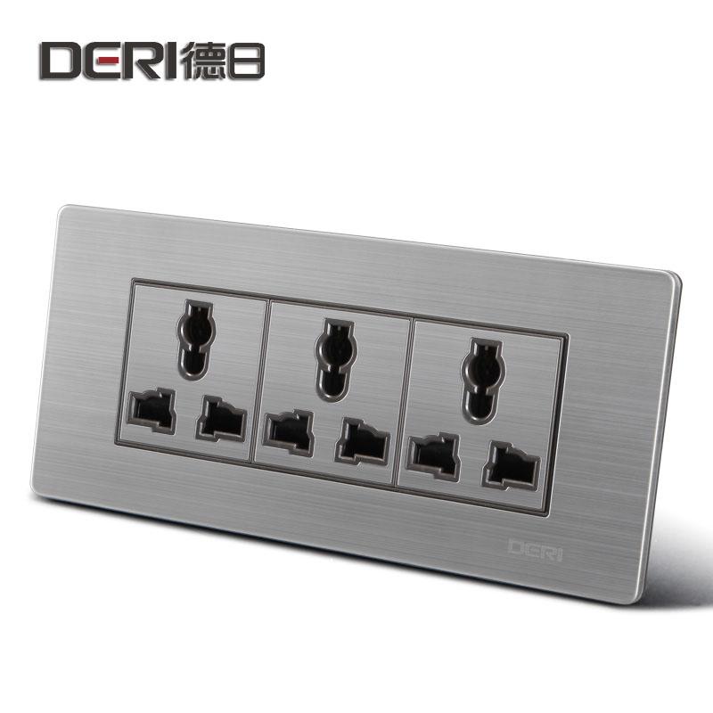德日 银色118型三三三插10A 118带开关插座3插座