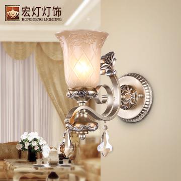 宏灯灯饰 玻璃树脂欧式镂空雕花白炽灯节能灯led d1081-1壁灯