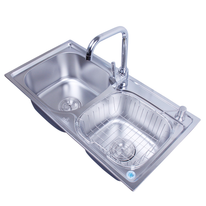 樱花美迪 不锈钢色201不锈钢拉丝双槽YH-800\850水槽 水槽
