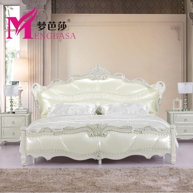 梦芭莎 图片色 头层牛皮木接触面真皮组装方形欧式 床