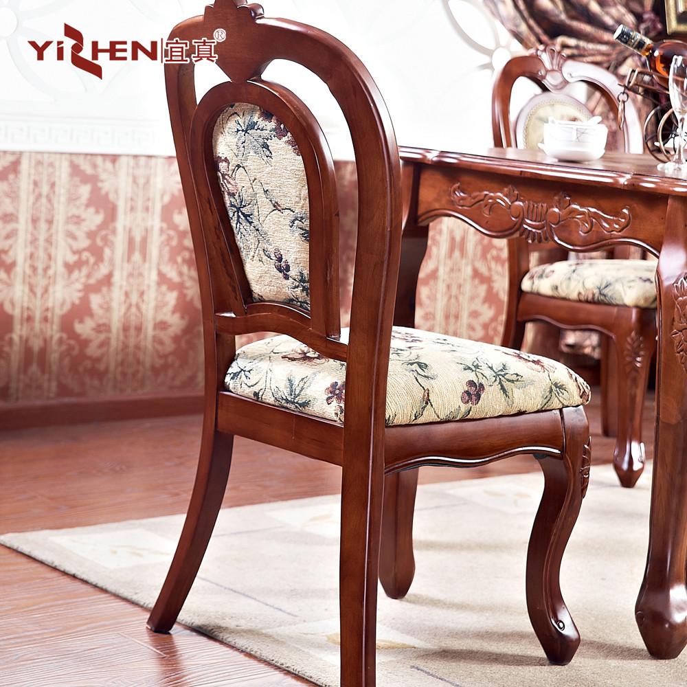 宜真 实木餐椅手绘布移动成人美式乡村 餐椅