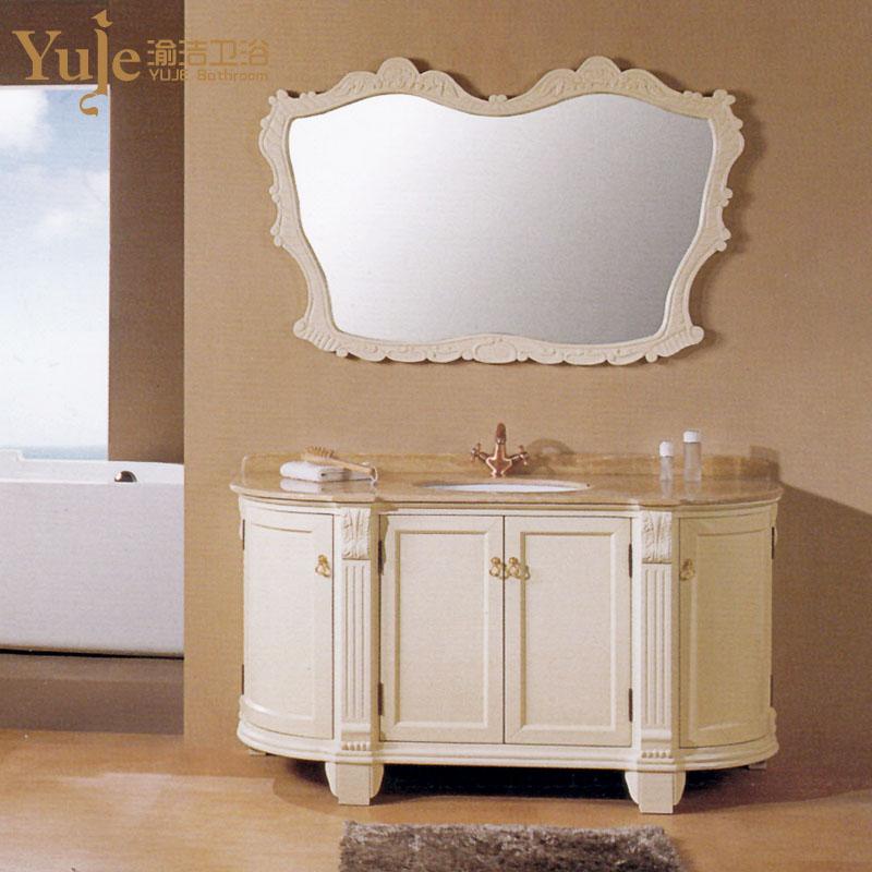 渝洁 橡胶木含带配套面盆大理石台面e0级欧式 yj505a浴室柜