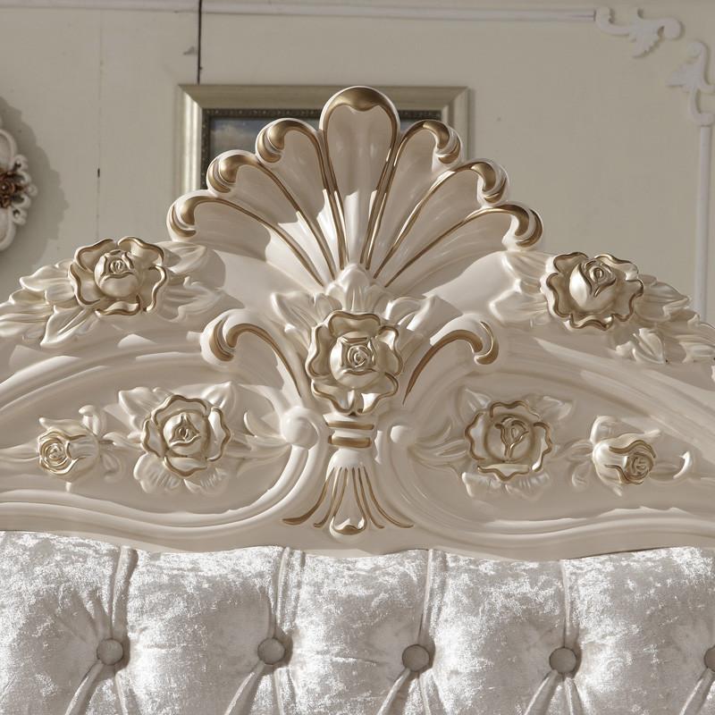 丽丽派 荷花白色橡木框架结构欧式雕刻 床