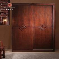 榆木多功能吊滑移门植物花卉成人现代中式 衣柜
