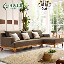 L形橡胶木海绵现代中式 沙发
