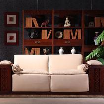 U形拼板榆木多功能化纤抽象图案现代中式 沙发