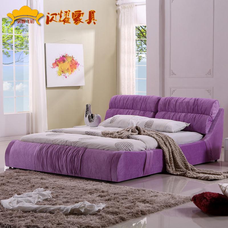 图片色木褶皱组装式架子床复合面料方形简约