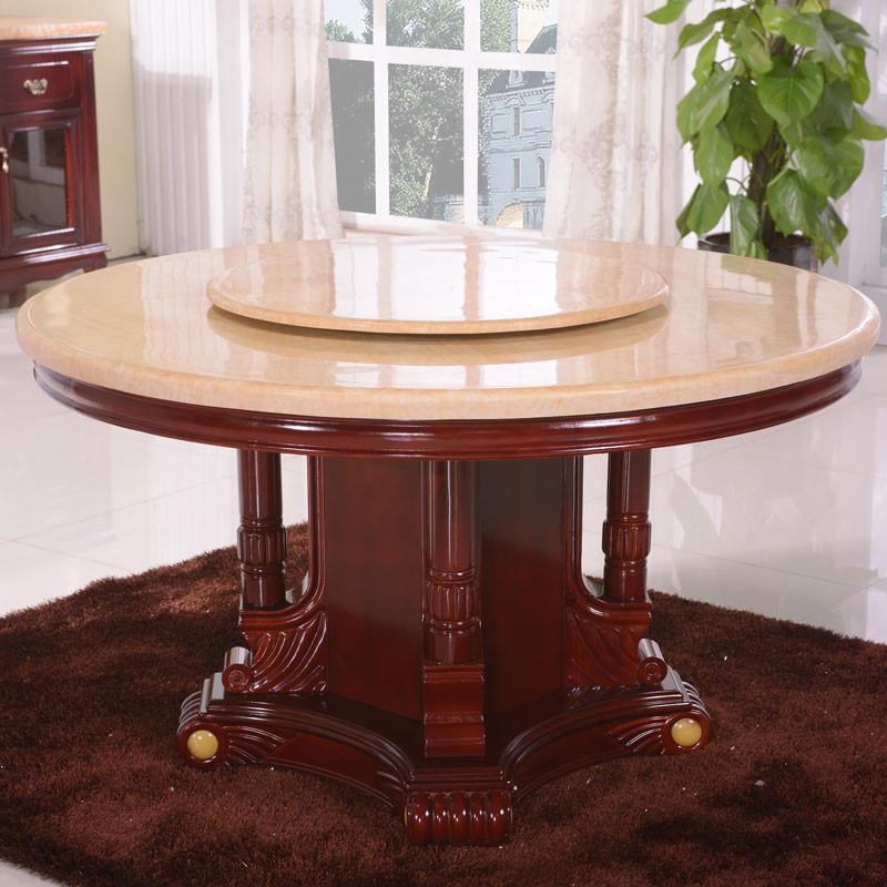 福尊 组装大理石框架结构橡木旋转抽象图案圆形欧式 餐桌
