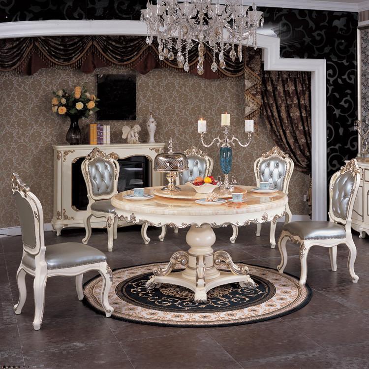 5餐桌组装桦木圆形欧式 餐桌