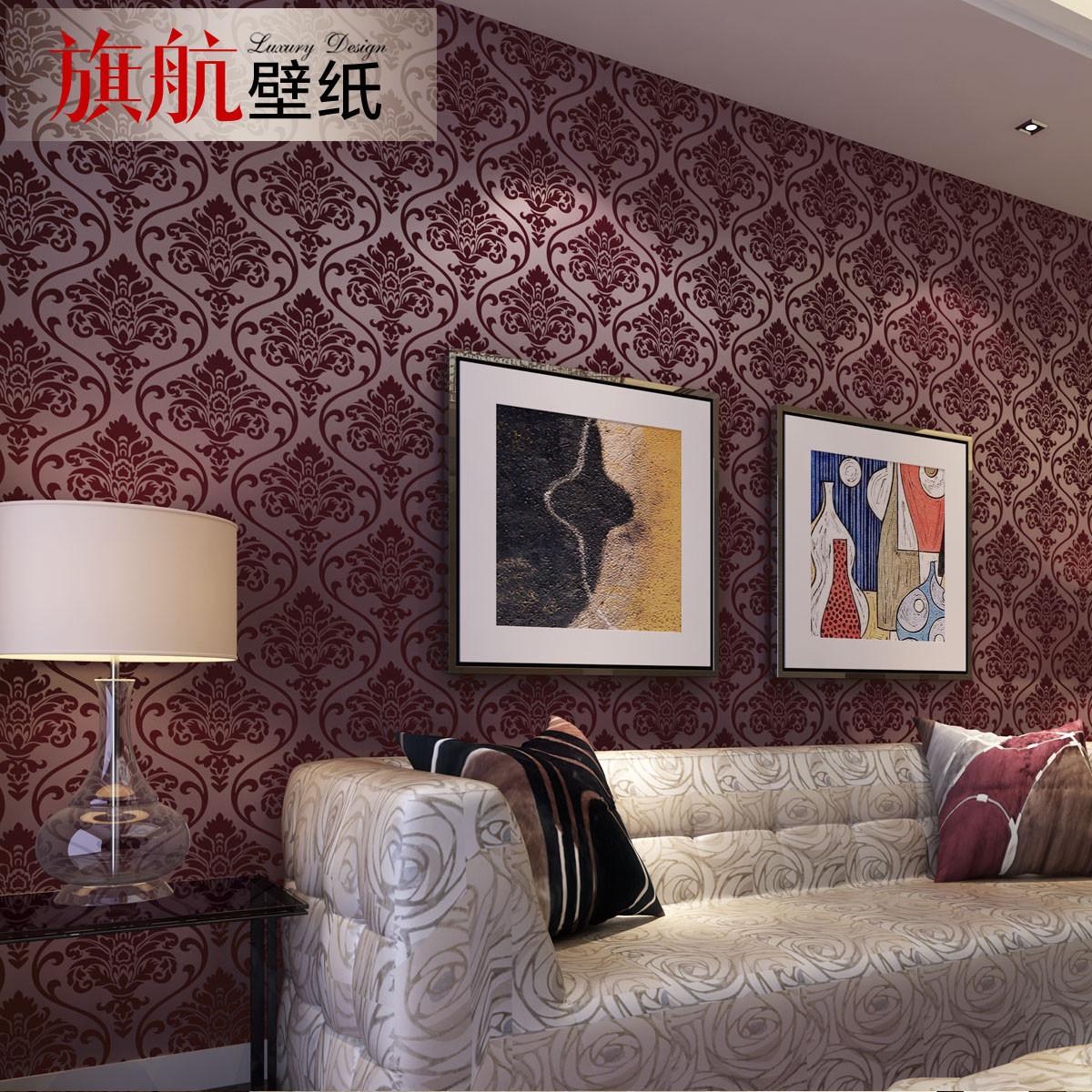 旗航壁纸 毛面有图案客厅欧式 8001墙纸