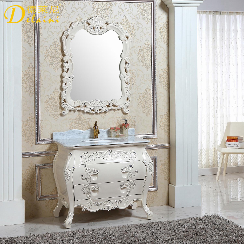 德莱尼 橡胶木含带配套面盆大理石台面欧式 dln-820浴室柜