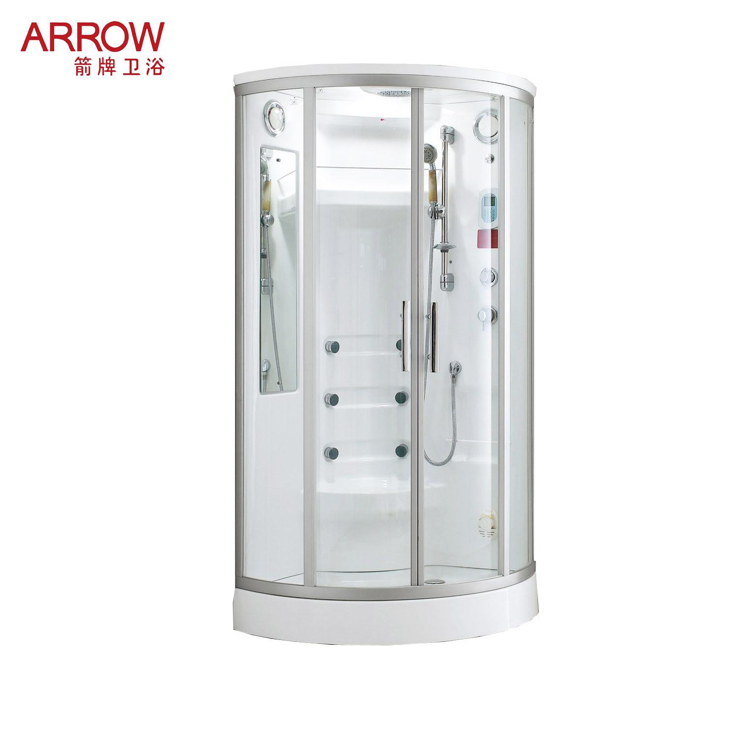 箭牌 白色移门式弧扇型 淋浴房