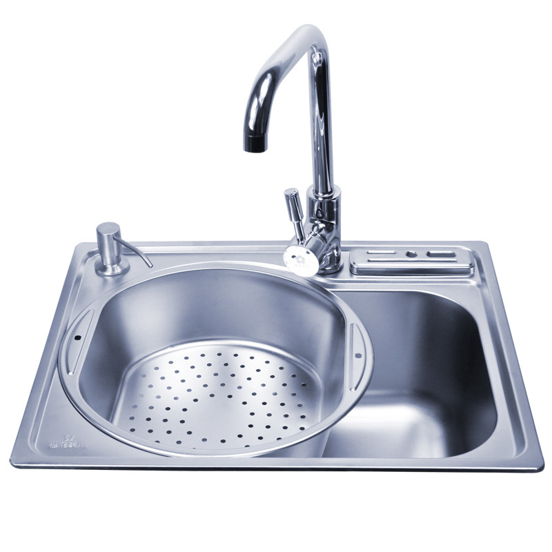 樱花美迪 不锈钢色201不锈钢拉丝单槽YH-400水槽 水槽