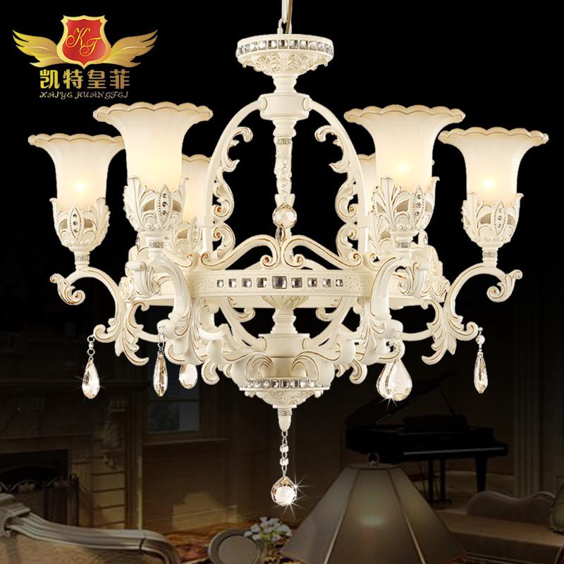 凯特皇菲 玻璃铁水晶树脂欧式镂空雕花节能灯led 吊灯