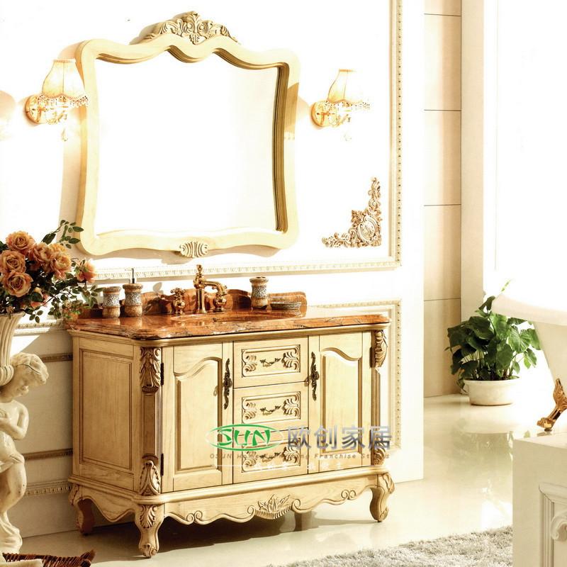 福森 橡胶木大理石台面e0级欧式 y80洗手盆