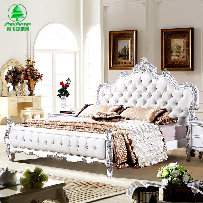 风飞扬 白描银橡木组装式架子床欧式雕刻 床