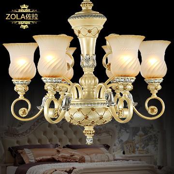 佐拉 玻璃树脂欧式镂空雕花节能灯 吊灯