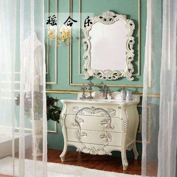 瑶合乐 橡胶木大理石台面欧式 y12浴室柜