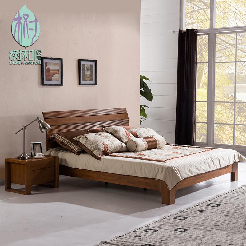 水曲柳组装式架子床简约现代雕刻