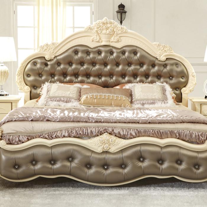 罗凯芬尼 原版色复合皮革组装方形欧式 床