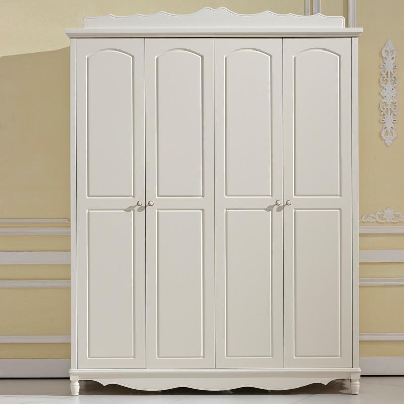四门成人_上点 象牙白(四门衣柜)哑光人造板橡木储藏平拉门艺术成人田园 衣柜
