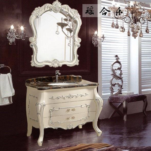 瑶合乐 橡胶木大理石台面欧式 y02浴室柜