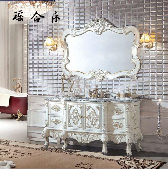 瑶合乐 橡胶木大理石台面欧式 y10浴室柜