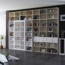 现代书房印象白+拿铁布纹定制衣柜